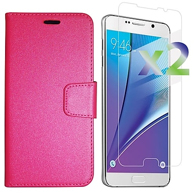 Exian Case for Galaxy Note 5 & Screen Protectors x2 Textured Wallet, Hot Pink