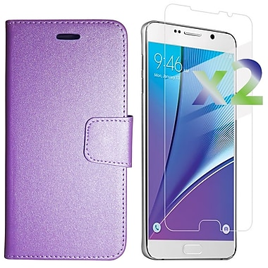 Exian Case for Galaxy Note 5 & Screen Protectors x2 Textured Wallet, Purple