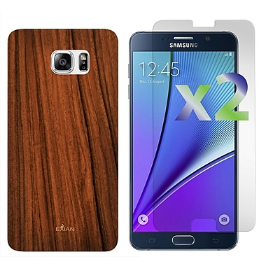 Exian Case for Galaxy Note 5 & Screen Protectors x2 Wood Grain Pattern