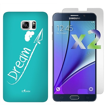 Exian Case for Galaxy Note 5 & Screen Protectors x2 Dream, White/Teal