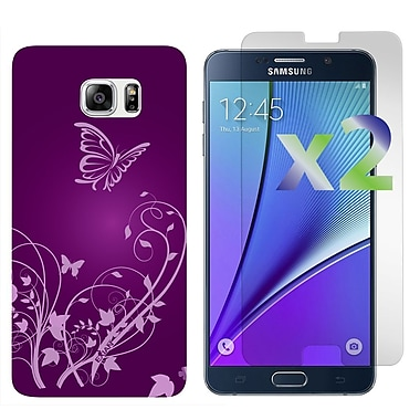 Exian Case for Galaxy Note 5 & Screen Protectors x2 Flowers & Butterfly, Purple