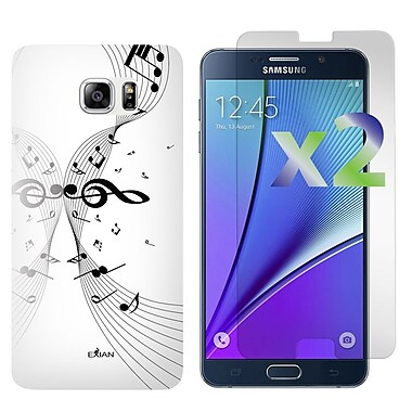 Exian Case for Galaxy Note 5 & Screen Protectors x2 Musical Notes, White