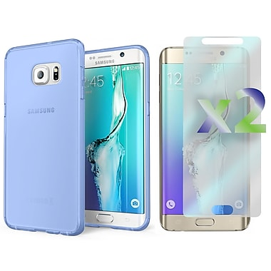 Exian Case for Galaxy S6 Edge Plus & Screen Protectors x2, Transparent Slim Case, Blue