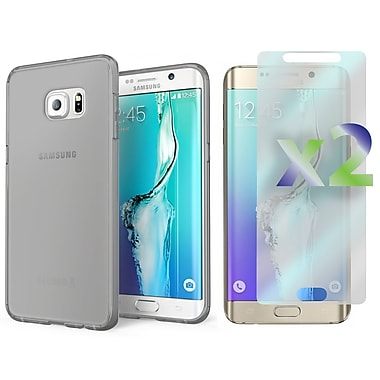 Exian Case for Galaxy S6 Edge Plus & Screen Protectors x2, Transparent Slim Case Green