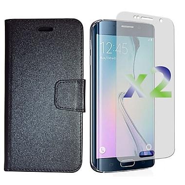 Exian – Étui portefeuille en cuir texturé pour Galaxy S6 Edge Plus avec protecteurs d'écran x2, noir