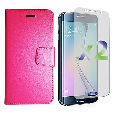 Exian – Étui portefeuille en cuir texturé pour Galaxy S6 Edge Plus avec protecteurs d'écran x2, rose vif