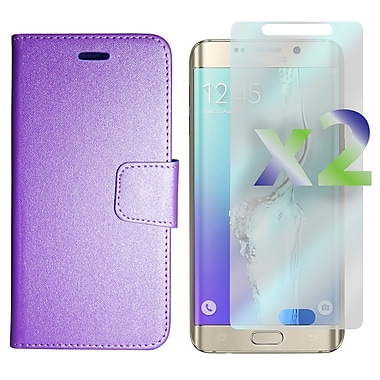 Exian Case for Galaxy S6 Edge Plus & Screen Protectors x2 Wallet, Purple