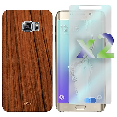 Exian Case for Galaxy S6 Edge Plus & Screen Protectors x2, Wood Grain Pattern
