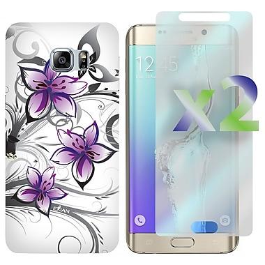 Exian – Étui pour Galaxy S6 Edge Plus et protecteurs d'écran x2, motifs floraux, violet/blanc