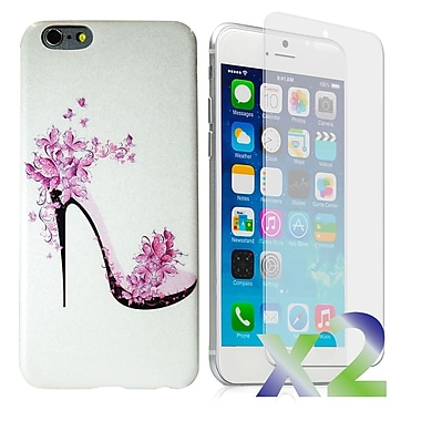 Exian Case for iPhone 6 & Screen Protectors x2 Slim Case, Lady Shoe Pattern