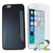 Exian – Étui avec fente pour carte pour iPhone 6 et protecteurs d'écran x2 mince, noir