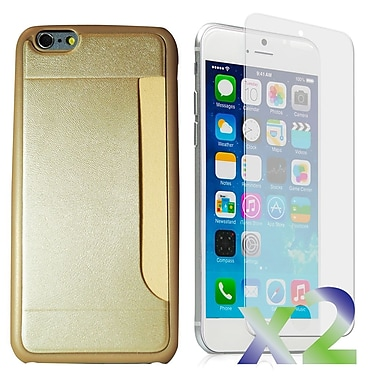 Exian Case for iPhone 6 & Screen Protectors x2 Slim Case with Card Slot, Gold