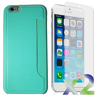 Exian Case for iPhone 6 & Screen Protectors x2 Slim Case with Card Slot, Green