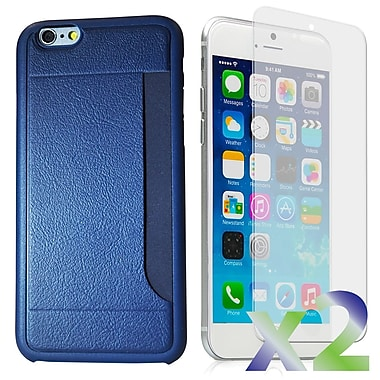 Exian Case for iPhone 6 & Screen Protectors x2 Slim Case with Card Slot, Navy