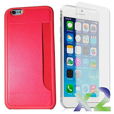 Exian Case for iPhone 6 & Screen Protectors x2 Slim Case with Card Slot, Pink