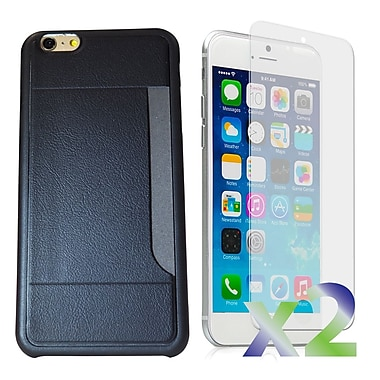 Exian Case for iPhone 6 Plus & Screen Protectors x2 Slim Case with Card Slot, Black
