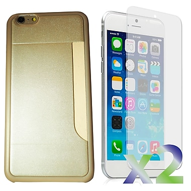 Exian Case for iPhone 6 Plus & Screen Protectors x2 Slim Case with Card Slot, Gold