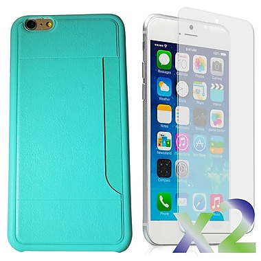 Exian Case for iPhone 6 Plus & Screen Protectors x2 Slim Case with Card Slot, Green