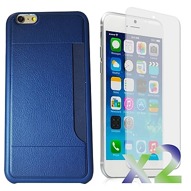 Exian Case for iPhone 6 Plus & Screen Protectors x2 Slim Case with Card Slot, Navy