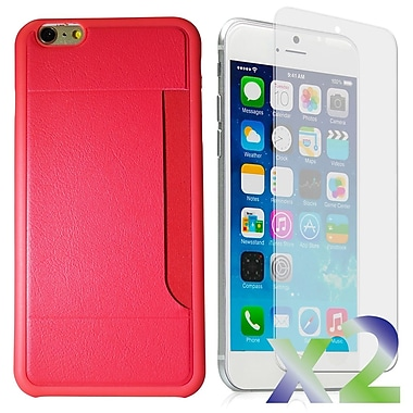 Exian Case for iPhone 6 Plus & Screen Protectors x2 Slim Case with Card Slot, Pink