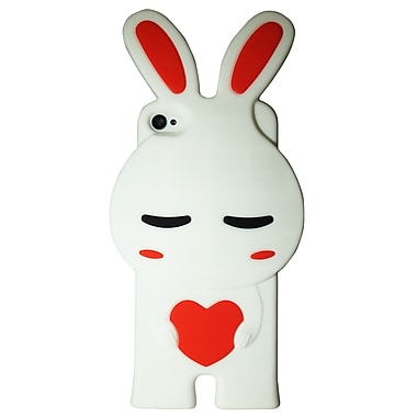 Exian Case for iPhone 4 Silicon Pomi Bunny, White