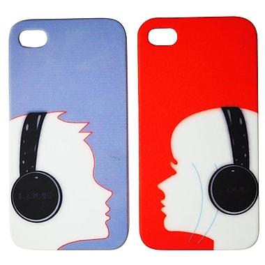 Exian – Étui agencés pour couple pour iPhone 4, écouteurs