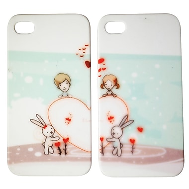 Exian Case for iPhone 4 Heart with Bunnies Couples Matching Case