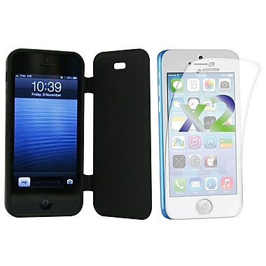 Exian Case for iPhone 5c & Screen Protectors x2 Pieces Solid Colour with a Front Cover, Black
