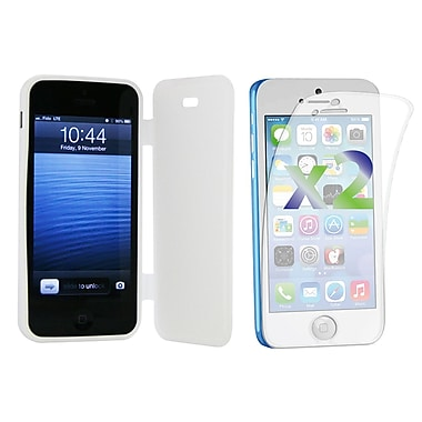 Exian Case for iPhone 5c & Screen Protectors x2 Pieces Solid Colour with a Front Cover, White
