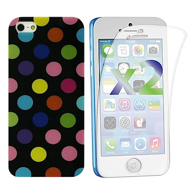 Exian Case for iPhone 5c & Screen Protectors x2 Pieces Polka Dots, Black Multiple Colours
