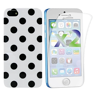Exian Case for iPhone 5c & Screen Protectors x2 Pieces Polka Dots, White