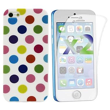 Exian – Étui pour iPhone 5c et protecteurs d'écran x2, à pois, blanc/multicolore