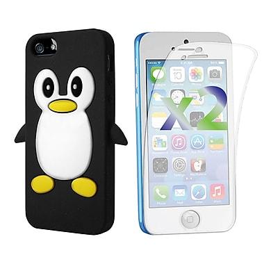 Exian – Étui pour iPhone 5c en silicone et protecteurs d'écran x2, pingouin, noir