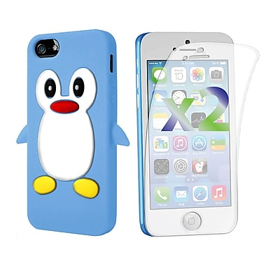 Exian Case for iPhone 5c & Screen Protectors x2 Silicon Penguin, Blue