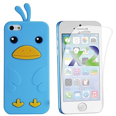 Exian Case for iPhone 5c & Screen Protectors x2 Silicon Chick, Blue