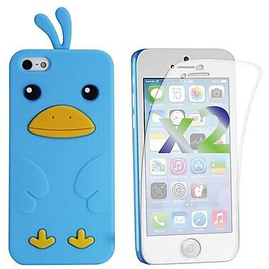Exian – Étui pour iPhone 5c en silicone et protecteurs d'écran x2, poussin, bleu