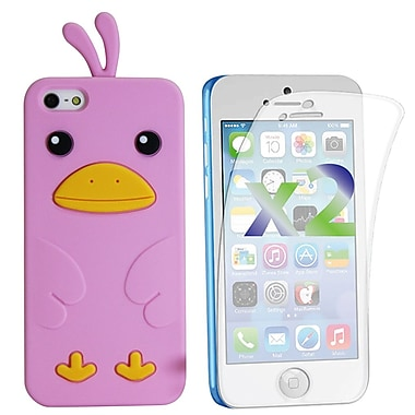 Exian Case for iPhone 5c & Screen Protectors x2 Silicon Chick, Pink