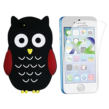 Exian Case for iPhone 5c & Screen Protectors x2 Silicon Owl, Black