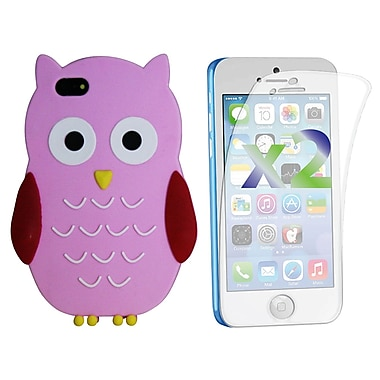 Exian Case for iPhone 5c & Screen Protectors x2 Silicon Owl, Pink