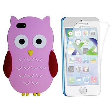 Exian – Étui pour iPhone 5c en silicone et protecteurs d'écran x2, hibou, rose