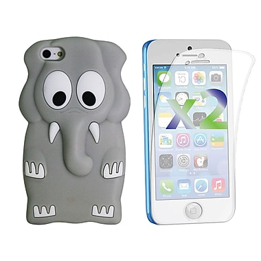 Exian Case for iPhone 5c & Screen Protectors x2 Silicon Elephant, Grey