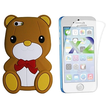 Exian Case for iPhone 5c & Screen Protectors x2 Silicon Teddy Bear, Brown