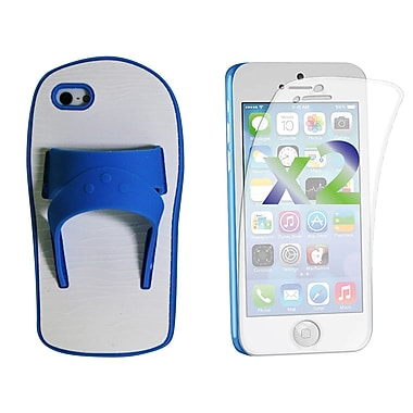 Exian Case for iPhone 5c & Screen Protectors x2 Silicon Sandal, Blue