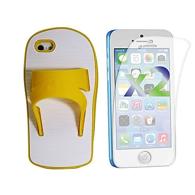 Exian Case for iPhone 5c & Screen Protectors x2 Silicon Sandal, Yellow