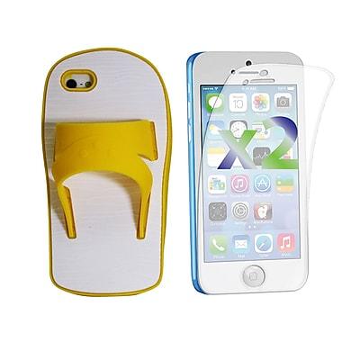 Exian – Étui pour iPhone 5c en silicone et protecteurs d'écran x2, sandale, jaune