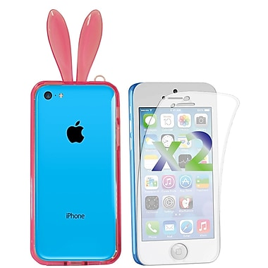 Exian Case for iPhone 5c & Screen Protectors x2 Case Bumper Transparent with Bunny Ears, Pink