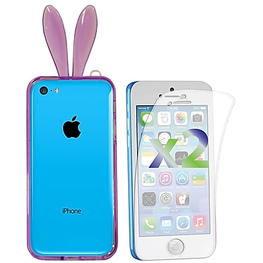 Exian Case for iPhone 5c & Screen Protectors x2 Case Bumper Transparent with Bunny Ears, Purple