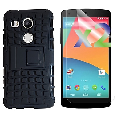 Exian Case for Nexus 5X & Screen Protectors x2 Armored Case with Stand, Black