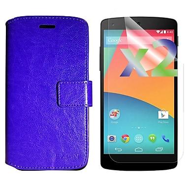 Exian Case for Nexus 5X & Screen Protectors x2 Wallet, Purple