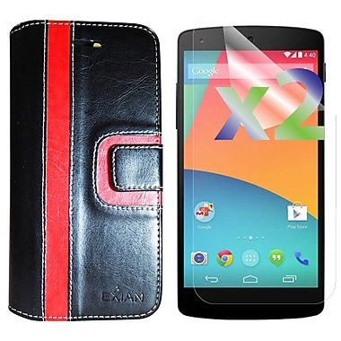 Exian Case for Nexus 5X & Screen Protectors x2 Wallet Stripe Pattern, Black/Red